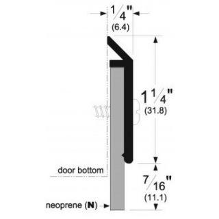 """Pemko 315CN Neoprene Door Sweep, 1-1/4"""" Aluminum Channel, 7/16"""" Neoprene"""