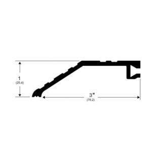 "Pemko 566 Offset Half Saddle Threshold - 3"" by 1"", Mill Aluminum or Dark Bronze Finish"