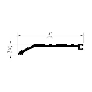 "Pemko 766 Offset Half Saddle Threshold - 3"" by 1/2"", Mill Aluminum or Dark Bronze Finish"