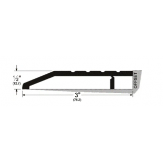 "Pemko 168A Half Saddle Threshold - 3"" by 1/2"", Mill Finish Aluminum"